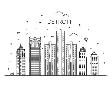 Michigan, Detroit. Flat design line vector illustration concept