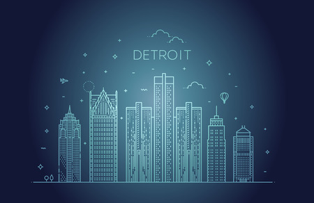 Michigan, Detroit . City skyline. Architecture, buildings, landscape, panorama, landmarks, icons