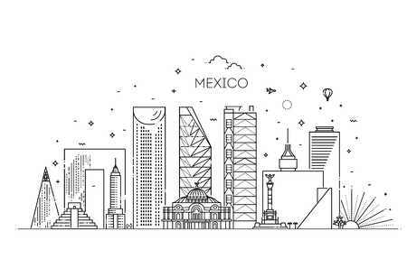 Linear banner of Mexico city. Business travel and tourism concept with modern buildings Illustration