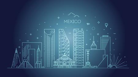 Bandera lineal de la ciudad de México. Concepto de turismo y viajes de negocios con edificios modernos
