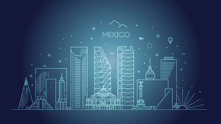 Linear banner of Mexico city. Business travel and tourism concept with modern buildings