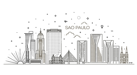 Linear banner of Sao Paulo. Business travel and tourism concept with modern buildings 向量圖像