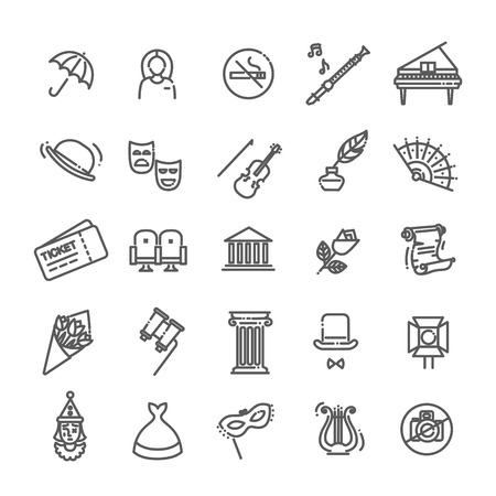 Theater linear icons. Theater collection of isolated symbols