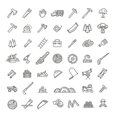 L'industrie forestière dans les icônes de style linéaire moderne Vecteurs