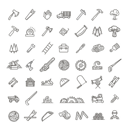 Przemysł leśny w nowoczesnych ikonach stylu liniowego Ilustracje wektorowe