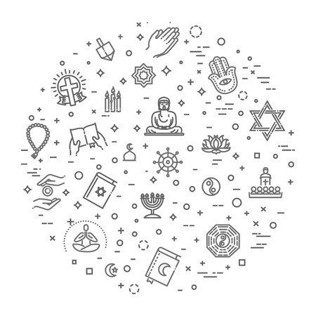 world religions symbols vector set of icons in circle