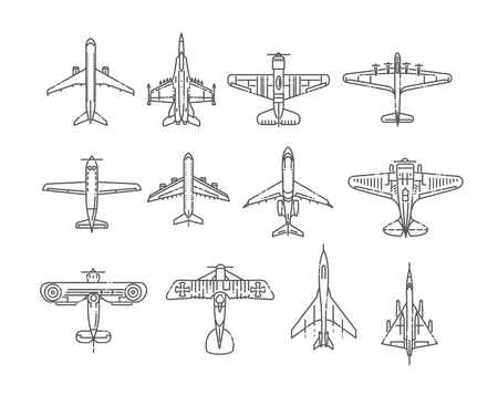 Modern types of planes. Large and small passenger aircraft. Air transport. Vector illustration in flat style