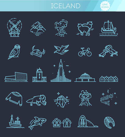 Iceland icons. Tourism and attractions, thin line design Illustration