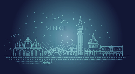 Venice city, illustration. Vector Venice buildings set