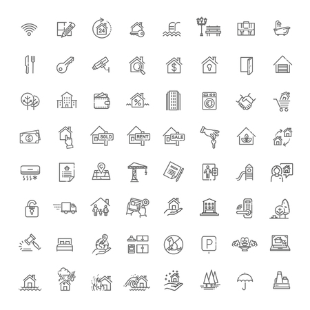 Vector Set of Real Estate Related Vector Line Icons 向量圖像