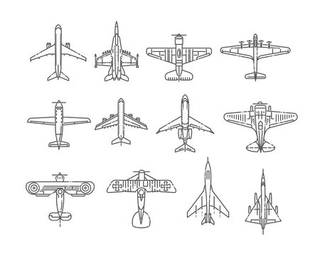 different types of plane icons 版權商用圖片 - 127742628