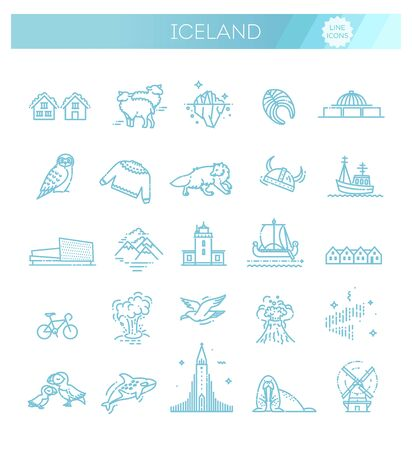 Iceland vector icons. Tourism and attractions. Iceland collection