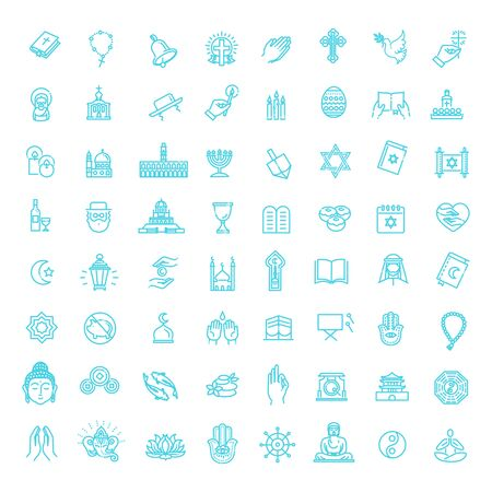 Vector religion icons set thin style.