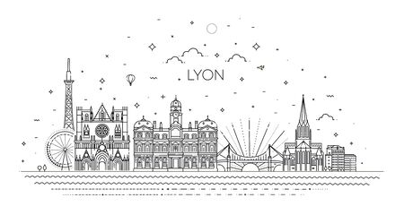Lyon skyline with panorama in white background Çizim