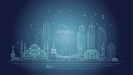 Istanbul skyline, vector illustration in linear style