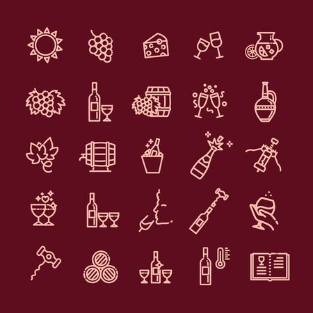 Wine Icons. Vector Illustration. Set of Wine icons