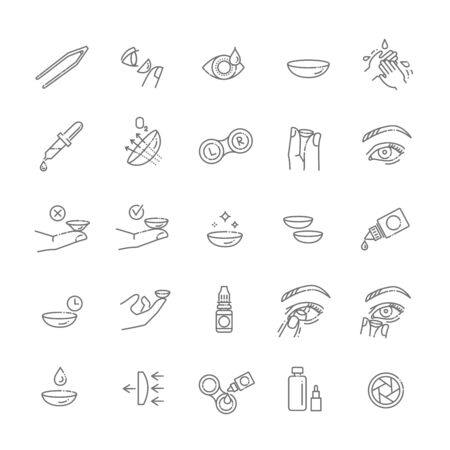 contact lenses icon set. Flat design style Stock Illustratie