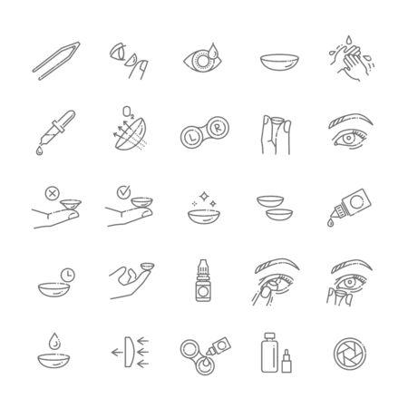 Kontaktlinsen-Icon-Set. Flacher Designstil