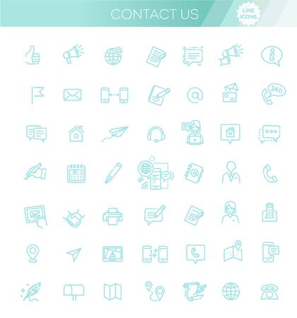 Thin lines web icons set - Contact us