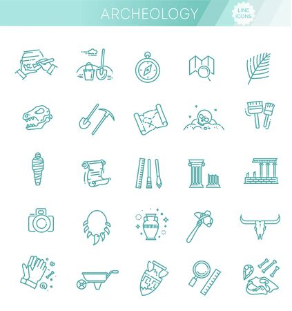 archeology line icons set. Vector symbols. Archeology collection