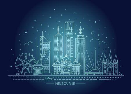 Melbourne Australia City Skyline. Line skyline illustration