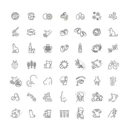 Set di icone vettoriali di linea di allergia. Cibo e polline