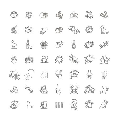 Vecteur défini des icônes de ligne d'allergie. Nourriture et pollen