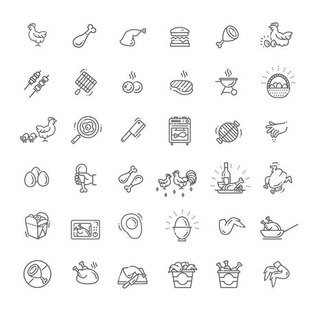 Simple Set of Chicken Meat Related Vector Line Icons Illusztráció