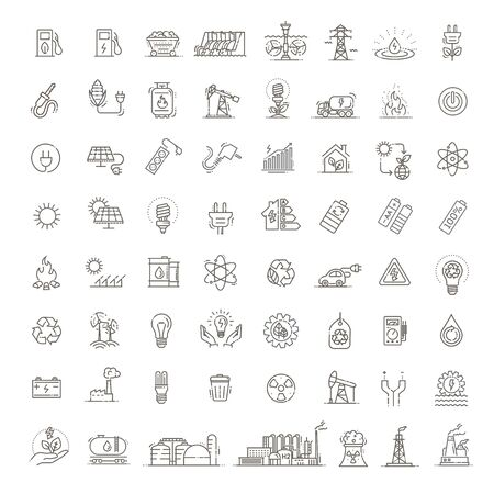 Collection of vector icons of electric power