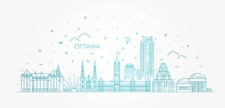Vector illustration of Ottawa city skyline. Cityscape 일러스트