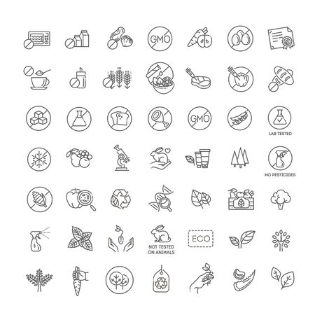 Natural food flat line icons set. Thin signs for packaging
