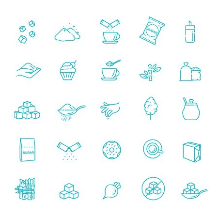 Sugar icon set. Sugar icon set in thin line style