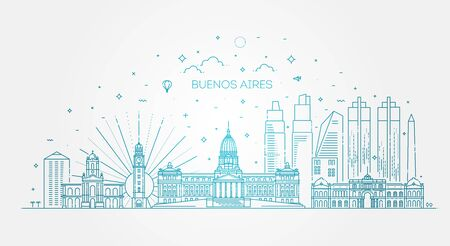 Buenos Aires skyline with panorama in white background. Vector Illustration Illusztráció