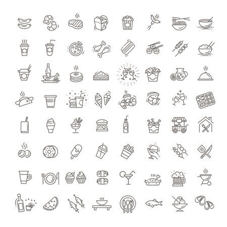 Food courts icons set