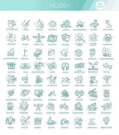 Loisirs et intérêts des icônes de ligne détaillées