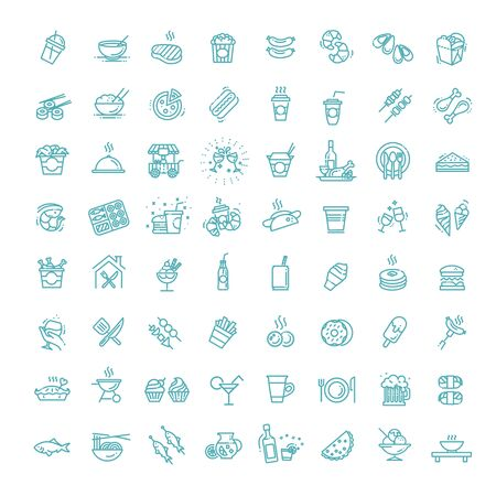 Food courts icons set. Outline set of food