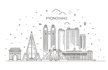North Korea, Pyongyang linear cityscape with famous landmarks, city sights, vector landscape.