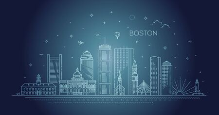 Boston architecture line skyline illustration