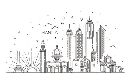 Vector Illustration. Business Travel and Tourism Concept with Modern Buildings