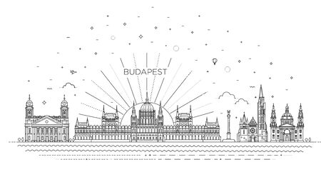 illustration in style of flat design on the theme of hungary