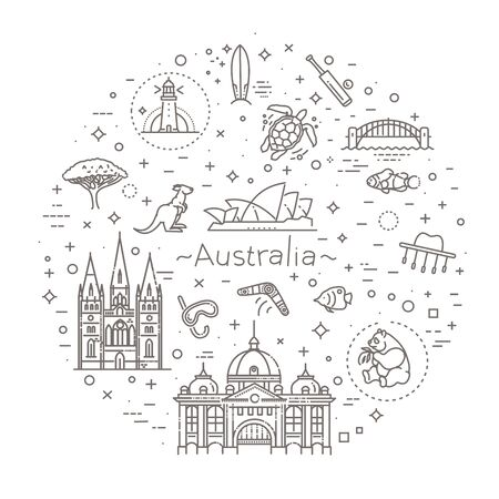 Australian continent. Australia icon in set collection