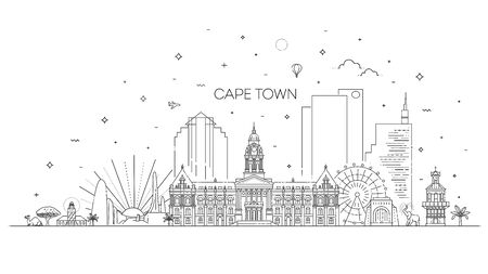 Linear vector cityscape with famous landmarks, city sights, design icons. Landscape