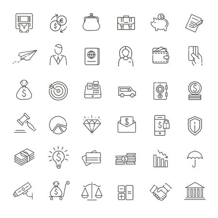 Thin line web icon set - money, payments.