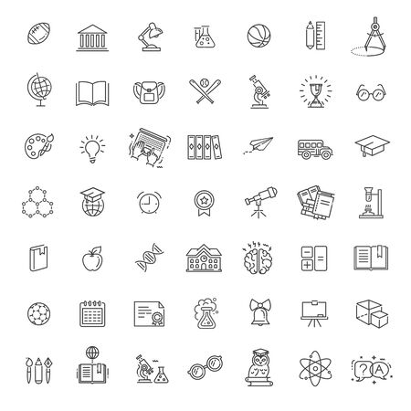 Outline thin vector icon collection. School education