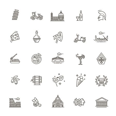 Italy icons set. Tourism and attractions, thin line design. Symbols of the country 向量圖像
