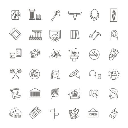 Historical museum vector icons set Vector Illustration