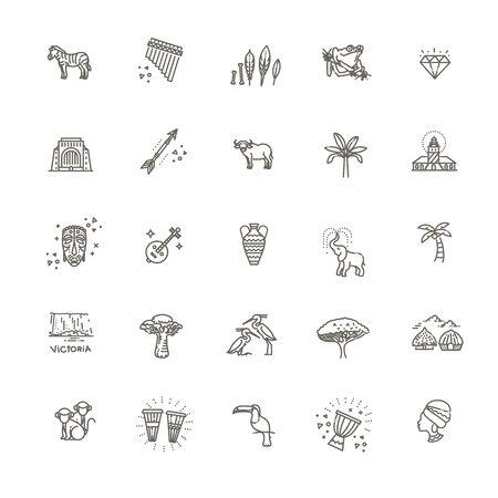 vector Africa icon set Иллюстрация