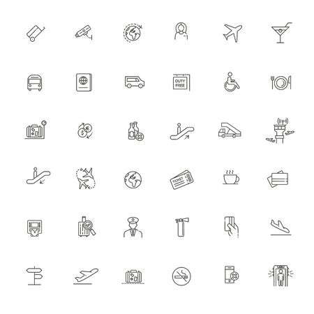 Air Travel or Airport Services outline icon set. Vettoriali