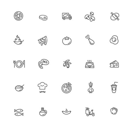 Italian traditional pizza vector outline icons set Vettoriali