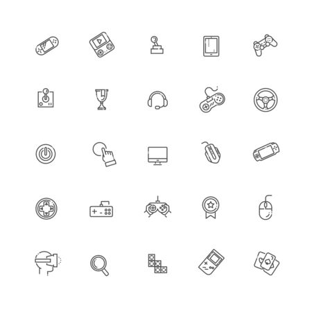 Simple set of games related outline icons